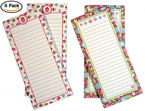 Creative Hobbies Magnetic Memo Note Pads, 60 Sheets Per Pad, 8 inch x 3.5 Inch, 3 Each of 2 Fun Girl Designs - Total of 6 Pads (Set 2)
