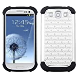 CoversFromUs HOT RHINESTONE BLING Heavy Duty Defender Hybrid Hard Case Cover for Samsung Galaxy S3 SIII i9300 (White)