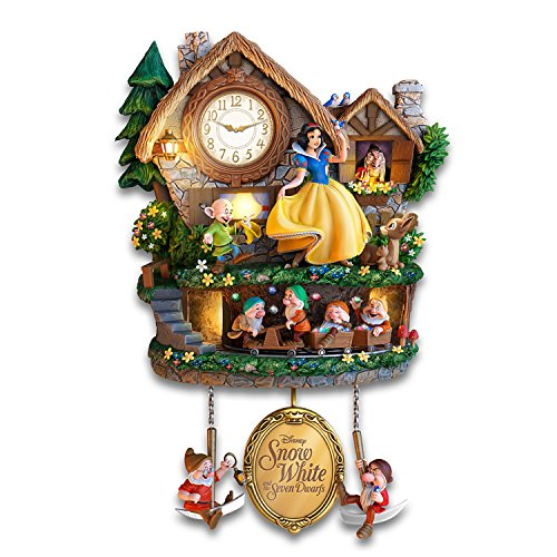 Disney Snow White and the Seven Dwarfs Clock Lights Up with Music and Motion by The Bradford Exchange