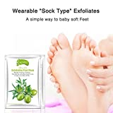 Foot Mask, Sacow Olives Exfoliating Peel Foot Mask Remove Dead Skin Foot Mask Peeling Cuticles Heel Feet Care