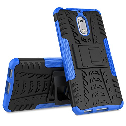 Nokia 6 Case, Skmy Shockproof Impact Protection Tough Rugged Dual Layer Protective Case Cover with Kickstand for Nokia 6 (Blue) by Skmy (Image #1)