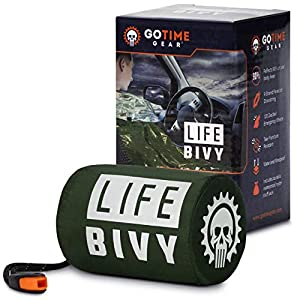 Go-Time-Gear-Life-Bivy-Emergency-Sleeping-Bag-Thermal-Bivvy-Use-as-Emergency-Bivy-Sack-Survival-Sleeping-Bag-Mylar-Emergency-Blanket-Includes-Stuff-Sack-with-Survival-Whistle-Paracord-String-1