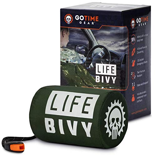🥇 Go Time Gear Life Bivy Emergency Sleeping Bag Thermal Bivvy – Use as Emergency Bivy Sack