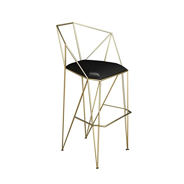 LIGHTYEARS Metal Bar Chair, Backrest and Armrests Geometric Kitchen Breakfast Chair Home High Stool Makeup Stool