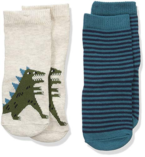Gymboree Baby Boys 2-Pack Socks, beige/blue dino, 12-24 -