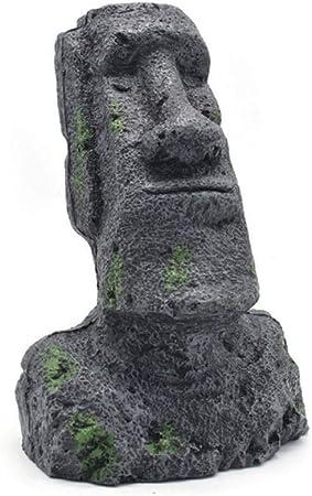 Escultura de resina del moái de la Isla de Pascua Ahu Akivi, estatua de jardín, monolito para acuario, decoración de escritorio, tamaño pequeño, mediano, grande, 23.5 x 14cm / 9.25