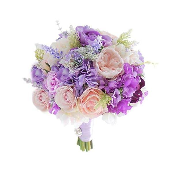 IFFO New Custom Wedding Bride Holding Pink Purple Rose Hydrangea Simulation Korean Bridesmaid Bouquet, Bouquet Permanent Preservation (Bouquet)