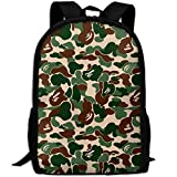 ZQBAAD Aniaml Bape Camouflage Green Luxury Print Men And Women's Travel Knapsack