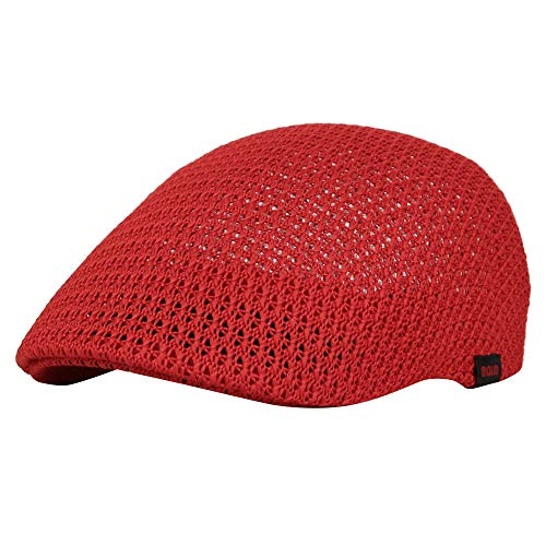 Patch Flat Cap - WITHMOONS Newsboy Ivy Cap Mesh Flat Golf Ascot Driving Hats AM31168 (Red)
