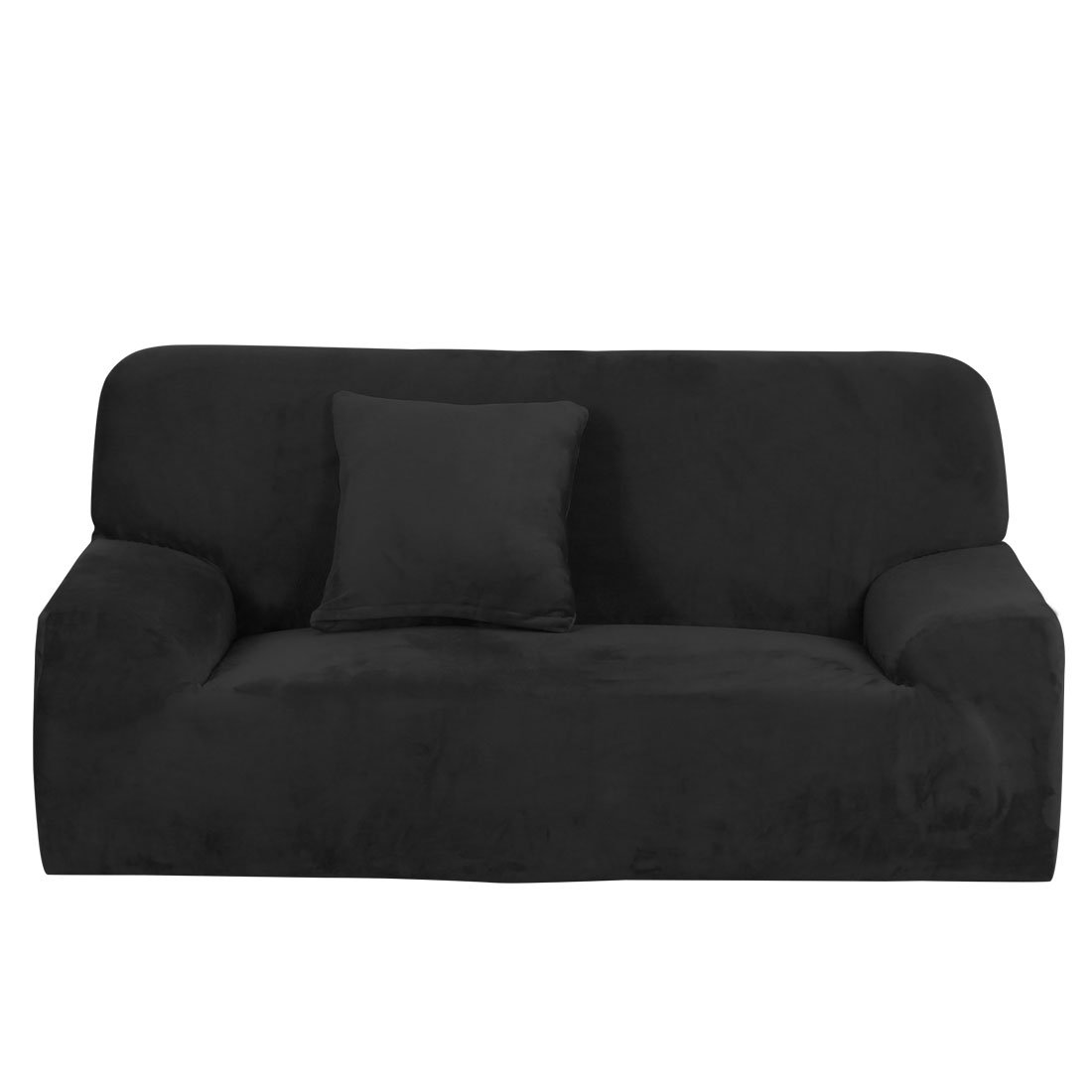 uxcell Velvet Plush Sofa Cover Loveseat Couch Slipcover, Machine Washable, Stylish Furniture Protector Covers with One Cushion Case (2 Seater, Black)