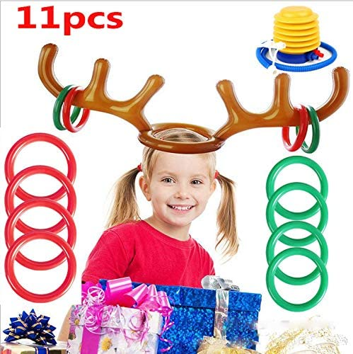 Amazon Com Ukkuer Inflatable Reindeer Antler Ring Toss Christmas Party Game Antler Ring Toss Game Game For Christmas Party 2antlers Ringsx8 1pc Air Pump Sports Outdoors