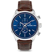Vincero Luxury Men's Chrono S Wrist Watch - Top Grain Italian Leather Watch Band - 43mm Chronograph Watch - Japanese Quartz Movement (Blue/Brown)