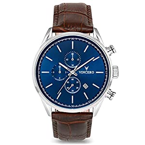 Vincero Luxury Men's Chrono S Wrist Watch – Blue dial with Brown Leather