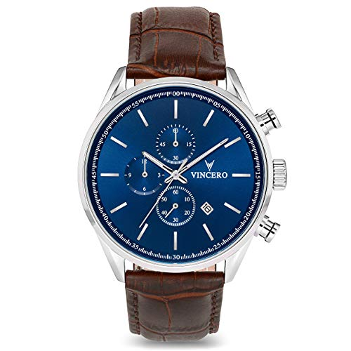 - Vincero Luxury Men's Chrono S Wrist Watch - Blue dial with Brown Leather
