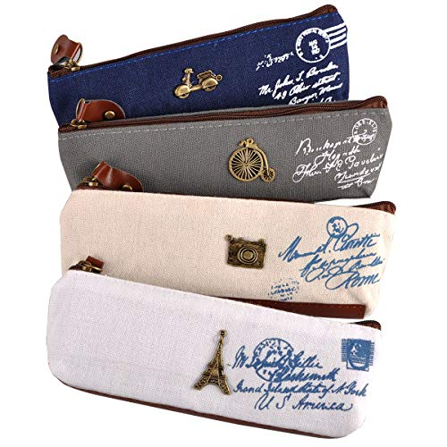 eZAKKA Vintage Canvas Pen Pencil Case Coin Purse Pouch Cosmetic Makeup Bag,4-Pack