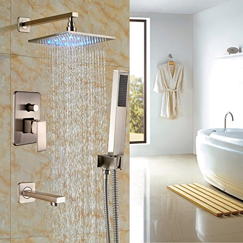 Rozin Bathroom 3-way Mixing LED Light 12-inch Rainfall Shower Set Handheld Spray + Tub Spout Tap Brushed Nickel