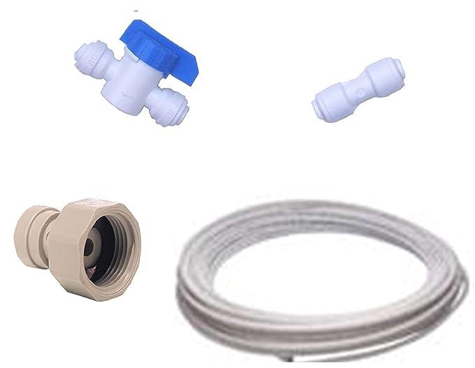 Kit de conexión de nevera americano para todas las marcas de frigoríficos americanos (Conectores + manguera)