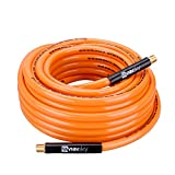 "WYNNsky Air Compressor Hose 3/8""X 50ft PVC Air Hose Light Weight with Bend Restrictors Double 1/4"" MNPT Brass Ends"