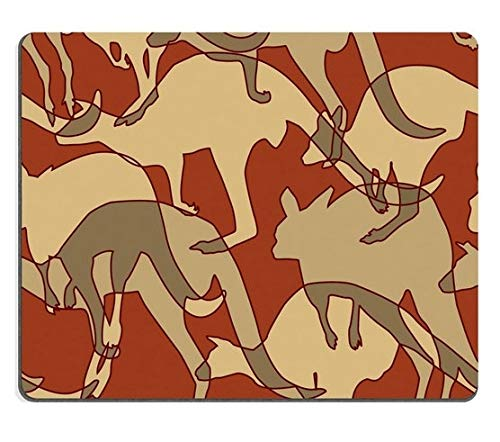 Mouse pad Natural Rubber Gaming Mouse pad Kangaroo Repeating Pattern