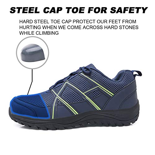 EXEBLUE Men\'s Work Shoe Steel Toe Safety Shoes - Slip Resistant Working Sneakers for Outdoor Blue
