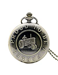 """Pocket Watch, Vintage Quartz Harvester Design""""Proud to Be A Farmer"""" Pocket Watch, Gifts for Men - Ahmedy Pocket Watch"""