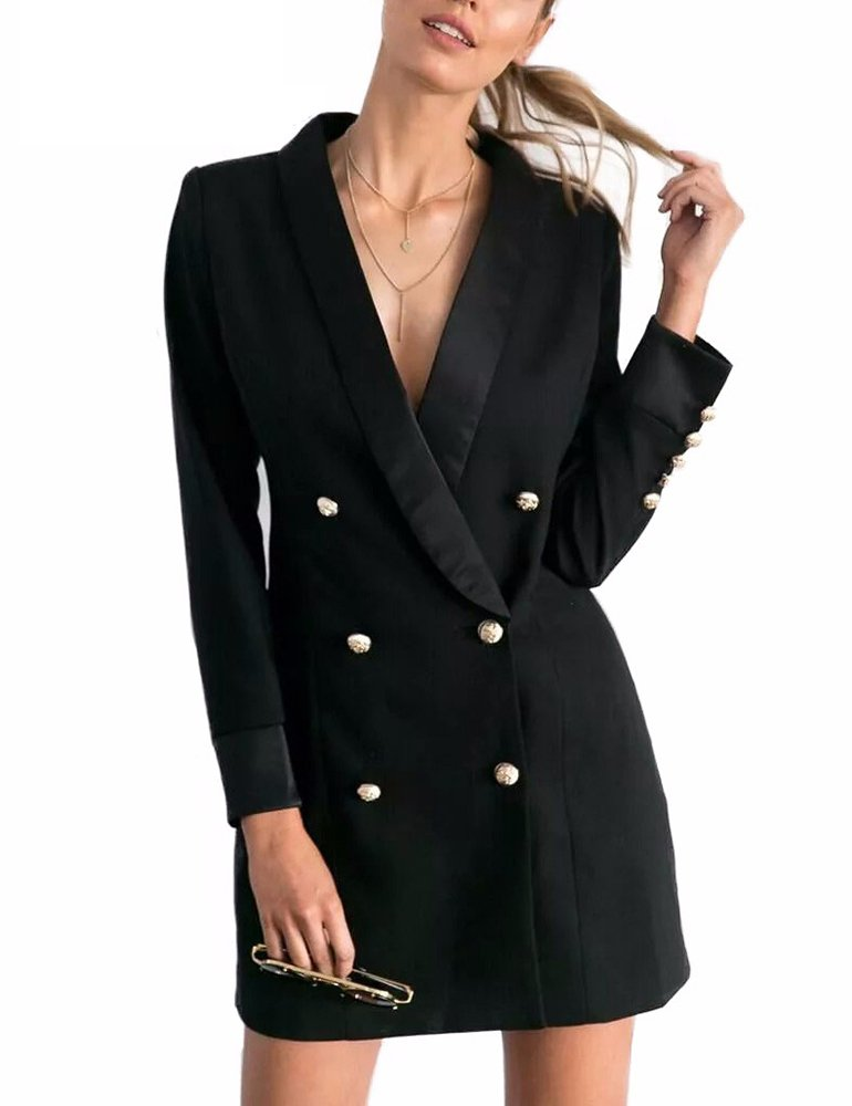 Collins Fashion Women's Autumn Sexy Deep V Neck Dress Long Sleeve Blazers Black S