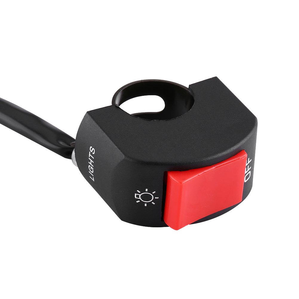 Motorrad 7//8 Zoll Lenkerhalterung LED Scheinwerfer-Ein//Aus-Schalter mit Roter Taste Rote Taste Motorrad Lenkerschalter