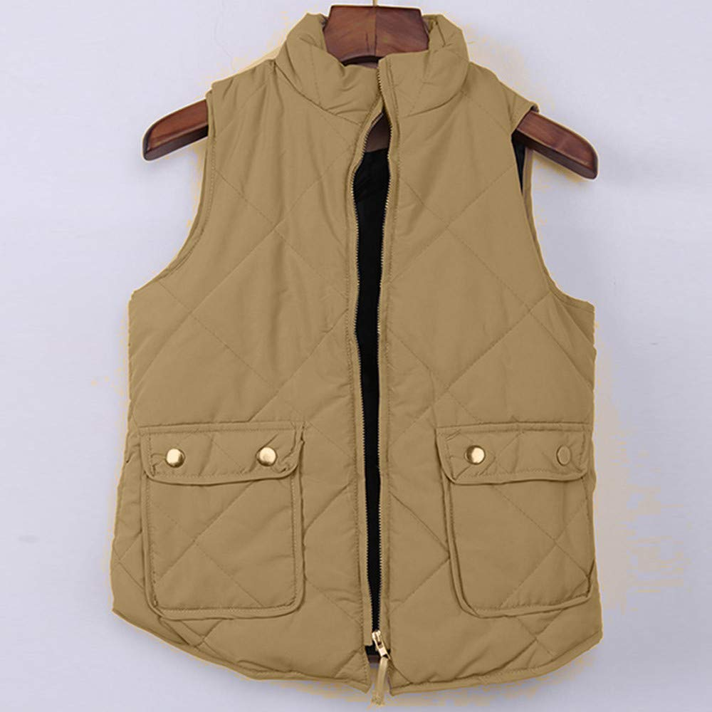 Easytoy Womens Stand Collar Lightweight Gilet Quilted Zip Vest