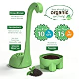 STOCKING STUFFER - Baby Dino Loose Leaf Tea infuser with Long Handle Neck & Cute Ball Body. Not Nessie or t rex it's a deep diver. Green Dinosaur Silicone Tea Strainer & Steeper - FREE Ebook