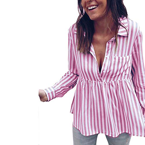 Waist Tie Blouse,Toimoth Fashion Women Casual Striped Top T Shirt Ladies Loose Long Sleeve Top Blouse(Pink,M)
