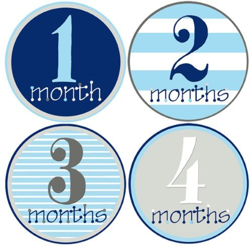 Mumsy Goose Baby Boy Monthly Stickers (1-12 Months) Capture Growth Milestones for Memory Book, Journal, Keepsakes or Photo Albums