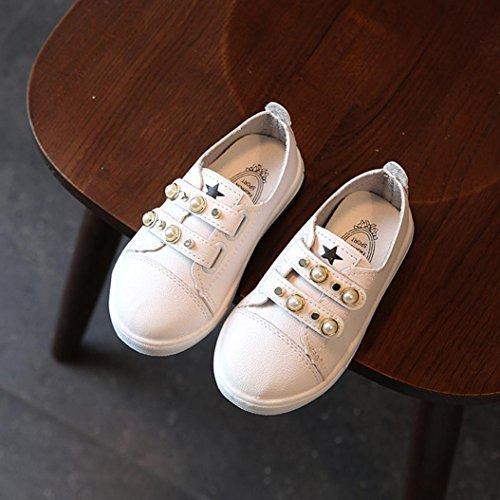 Xshuai Neue Art- und Weisekleinkind-Babyperlen-Beiläufige Turnschuh-Schuhe IM Freien Nette Sport-Schuhe für 1-3 Jahre Baby-Mädchen (Weiß/Schwarz/Rosa) Weiß