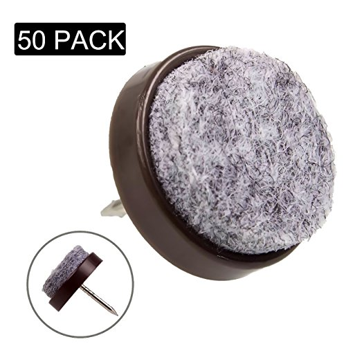 Felt Furniture Leg Pads, Nail in Furniture Feet Pad 50 pcs set, Round Diam 0.79in (20mm), Floor Protectors to Protect Hardwood Floors and Carpet, Brown for Wood Chair, Table, Bed, and China Cabinet (Diam Carpet)