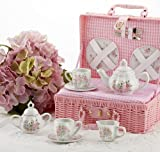 Delton Products Country Flowers Children's Tea Set for Two with Basket