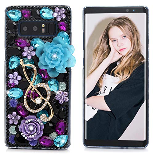 Note 8 Case, Maviss Diary Clear Slim Fit Luxury 3D Handmade Bling Crystal Rhinestone Diamonds Music Note Lotus Fashion Design Full Body Protective Hard PC Cover for Samsung Galaxy Note 8