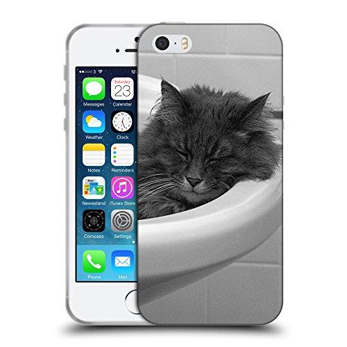 Just Phone Cases Coque de Protection TPU Silicone Case pour // V00004213 gris chat dort dans l'évier // Apple iPhone 5 5S 5G SE