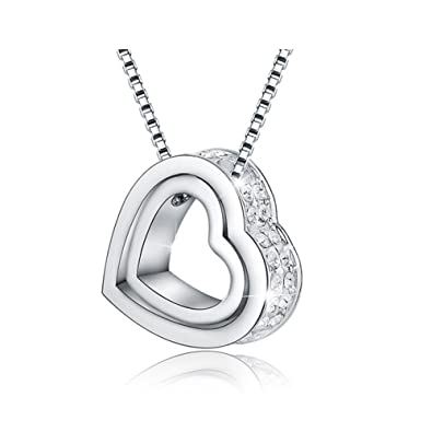 ed96e1bf251a Jewelry Forever Double Love Heart in Heart Shape Pendant Necklace LOVE YOU  FOREVER White Crystals Necklace