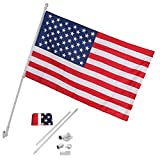 Cirocco 6 FT Flag Pole w/3' x 5' US Flag | Heavy Duty Aluminum - Free Spin Action Tangle Free – Tear Proof – Rust Proof & Wind Resistant | For Outdoor Residential Home Garden House Commercial Grummet