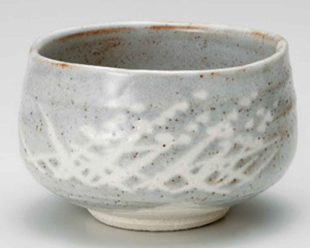 Grey Shino 4.5inch Matcha-Bowl Grey Ceramic Made in Japan by Watou.asia
