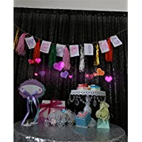 TRLYC 20Ft W by 10FT H Sparkly Black Sequin Backdrop Curtain for Wedding Halloween Thanksgiving Day Christmas