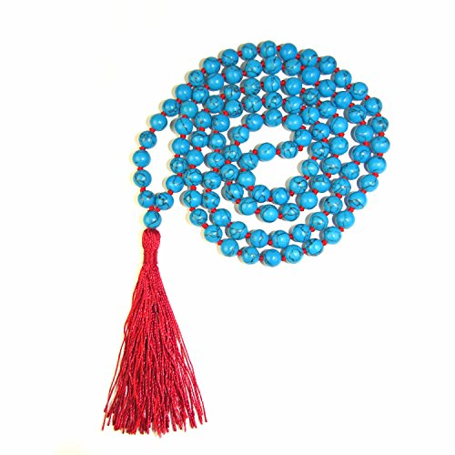 8mm 108 Simulated Turquoise Bead Buddhist Prayer Mala Necklace Assembled in The U.S.A. by Loving Hands