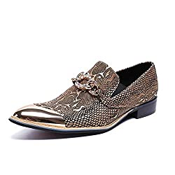 Metal Pointed Toe Crocodile Pattern With Rhinestone Shoes