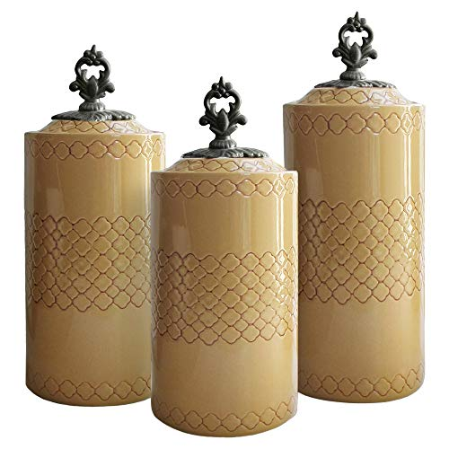 (American Atelier 1182142-YLRB 3 Piece Canister Set, Heights: 10.4, 11.3 and 12.4 inches, Diameter: 4.5 inches, Cream)