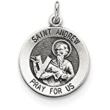 Finejewelers Sterling Silver Antiqued Saint Andrew Medal Pendant Necklace Chain Included