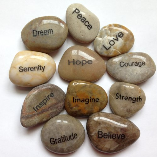 Engraved Inspirational Stones (Set of 25 different words)