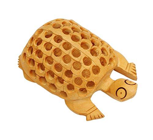 SouvNear 4 Lucky Sea Turtle Statue Unique Brown Wooden Tortoise Figurine Charm Items - Old Decorative Funny Sculpture Paperweight Decor Centerpiece