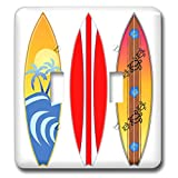 3dRose MacDonald Creative Studios – Surfing - Three vintage style surfboards for any surfer who loves the beach. - Light Switch Covers - double toggle switch (lsp_291831_2)