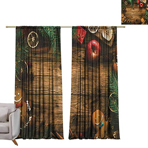 (berrly Window Curtain for Living Room Christmas,Gingerbread Man Gift Box Coniferous Pine Cinnamon Dessert on Rustic Wood Theme, Brown Green W108 x L84 Art Darkening Curtains)