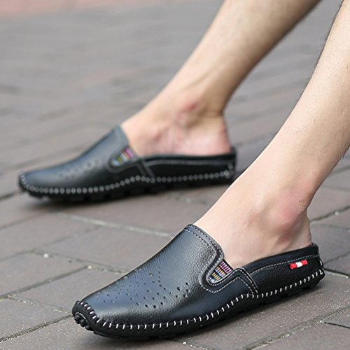 SUNROLAN Josef Mens Leather Slip On Slide Sandals Casual House Slippers With Ventilation Ports Black gjbVTgt