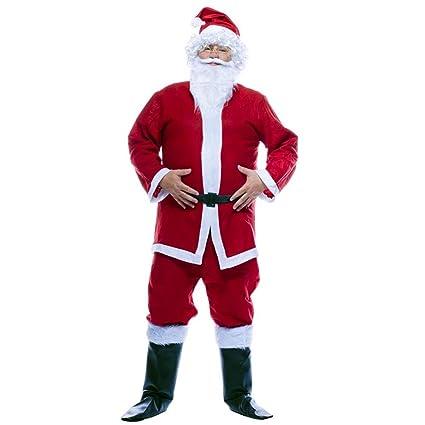 Completo Babbo Di Costume Adulti Barba Per Giacca Pantaloni Natale Da Vestito Cintura TSSq5Y